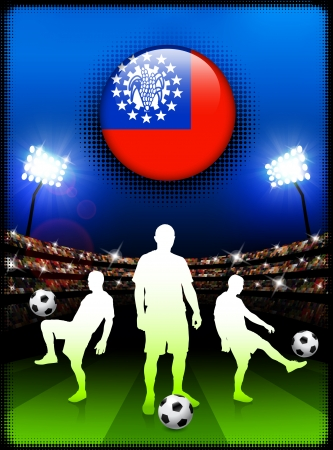 Myanmar Flag Button with Soccer Match in StadiumOriginal Illustration Vectores