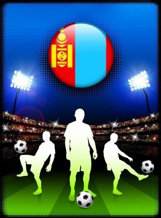 Mongolia Flag Button with Soccer Match in StadiumOriginal Illustration Vectores