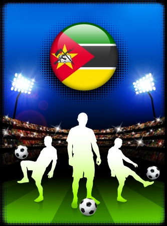 Mozambique Flag Button with Soccer Match in StadiumOriginal Illustration