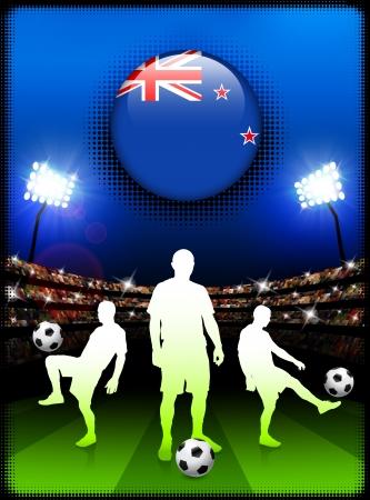 new zealand flag: Pulsante di bandiera neozelandese con una partita di calcio nello stadio Illustrazione originale