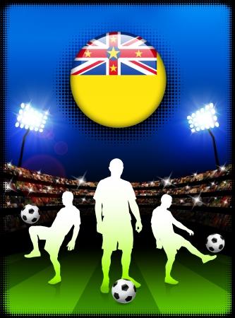 niue: Niue Flag Button with Soccer Match in Stadium Original Illustration Illustration
