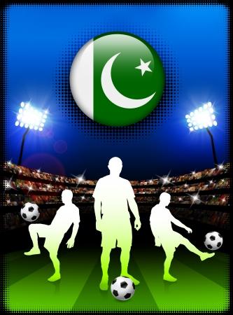 pakistan flag: Pakistan Flag Button with Soccer Match in Stadium Original Illustration