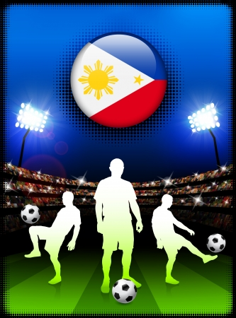 Philippines Flag Button with Soccer Match in StadiumOriginal Illustration