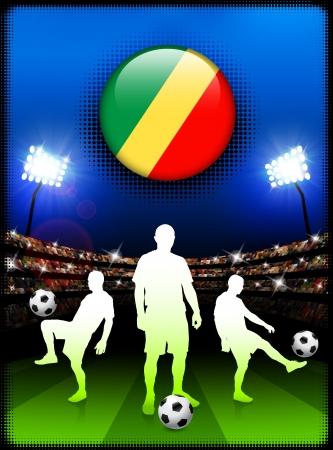 Republic of Congo Flag Button with Soccer Match in StadiumOriginal Illustration Çizim