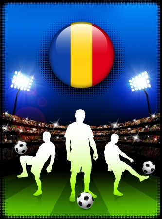 Romania Flag Button with Soccer Match in Stadium