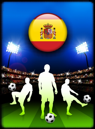 Spain Flag Button with Soccer Match in Stadium Original Illustration Ilustração