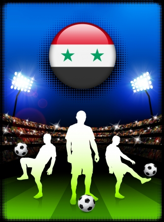 Syria Flag Button with Soccer Match in StadiumOriginal Illustration