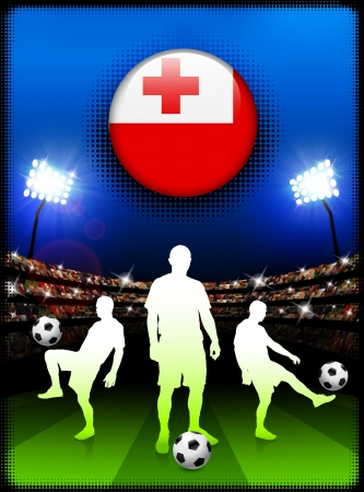 Tonga Flag Button with Soccer Match in StadiumOriginal Illustration