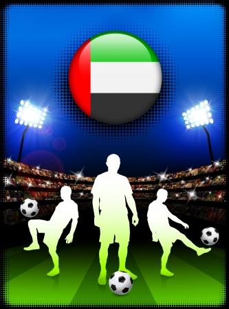 경기장에서 축구 경기와 아랍 에미리트 플래그 단추 원래 그림