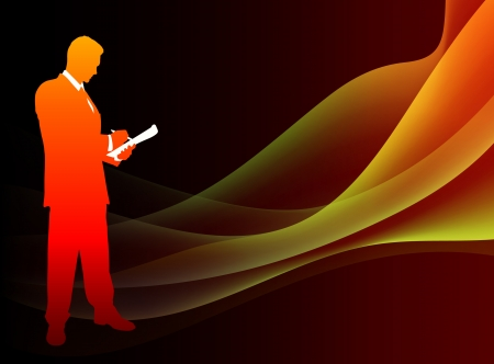 Businessman on Abstract Flowing Flame BackgroundOriginal Illustration Vectores