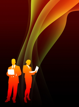 Business Couple on Abstract Flowing Flame BackgroundOriginal Illustration