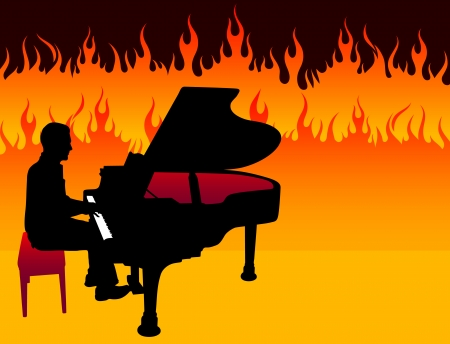 Piano Musician on Fire BackgroundOriginal Illustration