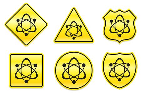 caution chemistry: Atom Icon on Yellow Designs Original Illustration Illustration