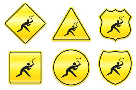 shuttlecock: Badminton Icon on Yellow Designs Original Illustration