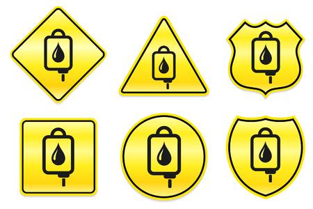 Blood IV Drip Icon on Yellow Designs Original Illustration Illusztráció