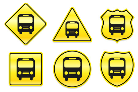 Bus Icon on Yellow Designs Original Illustration Vector