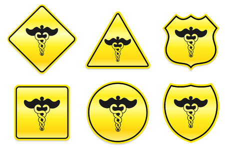 Caduceus Icon on Yellow Designs Original Illustration Vector
