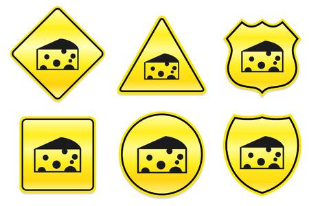 Kaas pictogram op gele ontwerpen Oorspronkelijke afbeelding Stock Illustratie