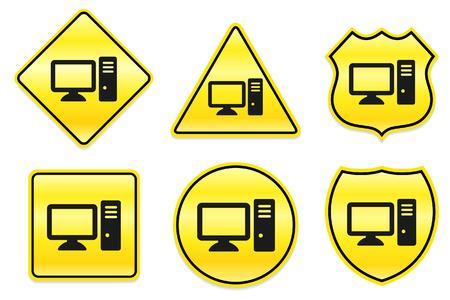 Computer Icon on Yellow Designs Original Illustration Vector