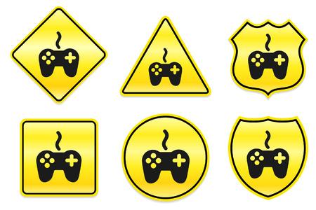 Controllerpictogram op gele ontwerpen originele illustratie Stock Illustratie