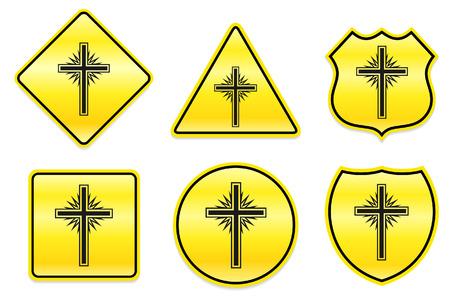 church group: Cross Icon on Yellow Designs Original Illustration Illustration
