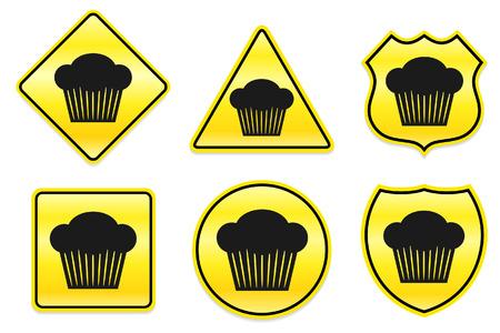 Cupcake pictogram op gele ontwerpen Oorspronkelijke afbeelding