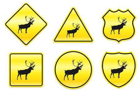노란색에 사슴 아이콘 원래 그림 디자인