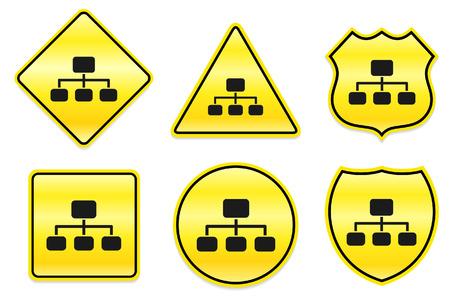 Diagram Icon on Yellow DesignsOriginal Illustration Stock Illustratie