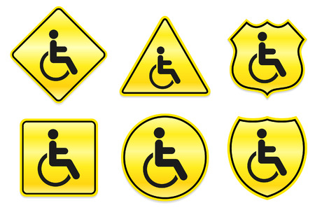 Disabled Icon on Yellow Designs Original Illustration Vector