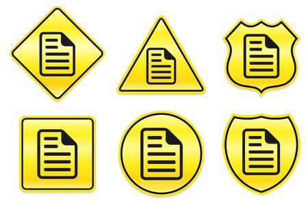 Documentpictogram op gele ontwerpen originele illustratie