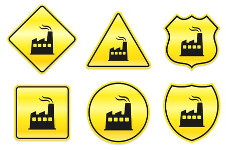 Fabrieks icoon op geel ontwerpen Originele illustratie