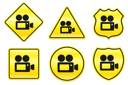 Camcorder Icon on Yellow DesignsOriginal Illustration Stock Vector - 22317458