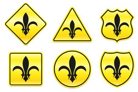 Fleur De Lis pictogram op gele ontwerpen Originele illustratie Stock Illustratie