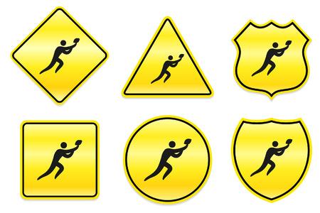 bal: Football Icon on Yellow Designs Original Illustration