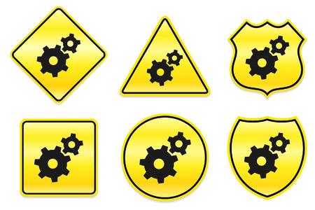 Gear Icon on Yellow Designs
