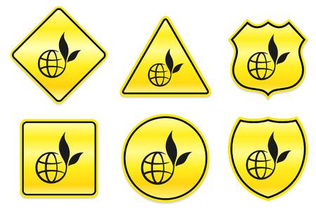 Globe Icon on Yellow DesignsOriginal Illustration