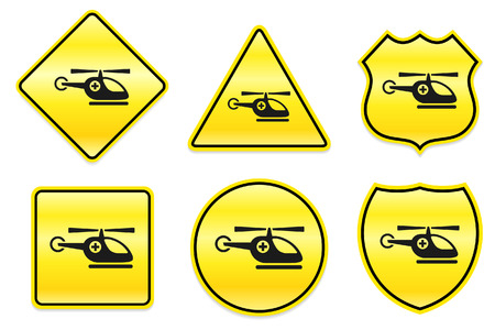 Emergency Helicopter Icon on Yellow DesignsOriginal Illustration Vectores