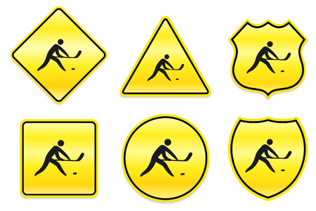 ice hockey player: Hockey Icon on Yellow Designs Original Illustration