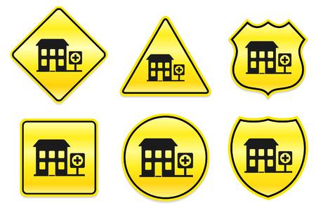 Ziekenhuis pictogram op gele ontwerpen Originele illustratie Stock Illustratie