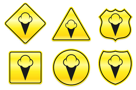 Ice Cream Icon on Yellow DesignsOriginal Illustration Ilustração