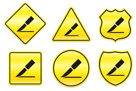 incision: Scalpel Icon on Yellow Designs Original Illustration