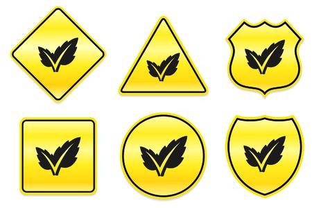 Blad pictogram op gele ontwerpen originele illustratie