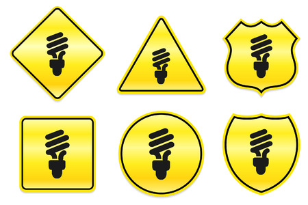Fluorescent Light Bulb Icon on Yellow Designs Original Illustration Ilustrace