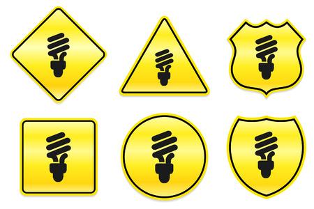bombillo ahorrador: Icono bombilla de la luz fluorescente en dise?os de amarillos Ilustraci?n original  Vectores