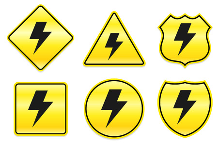 Lightening Icon on Yellow DesignsOriginal Illustration