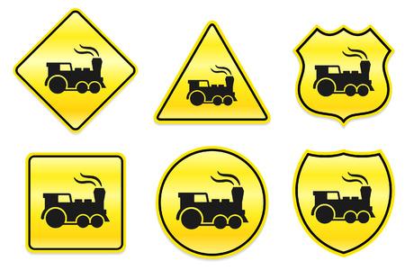 Locomotive Icon on Yellow DesignsOriginal Illustration