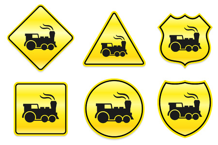 Locomotive Icon on Yellow Designs