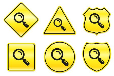 Magnify pictogram op gele ontwerpen Originele illustratie