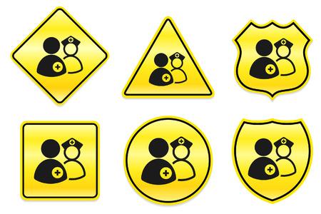 equipe medica: Icona di Team medico sui disegni gialli Illustrazione originale
