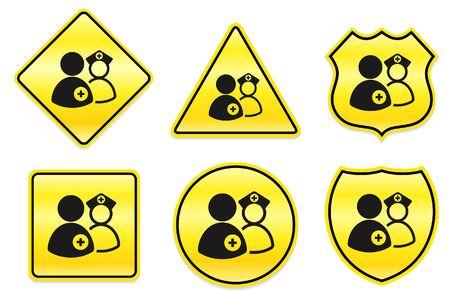 Medical Team Icon on Yellow Designs Original Illustration Vector